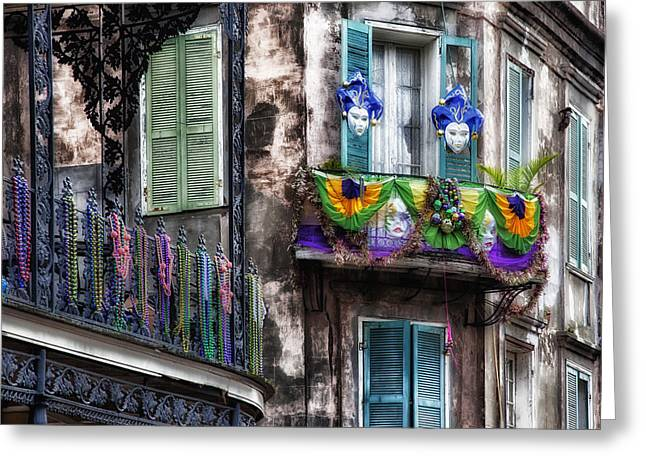 Old Stone Greeting Cards - The French Quarter during Mardi Gras Greeting Card by Mountain Dreams