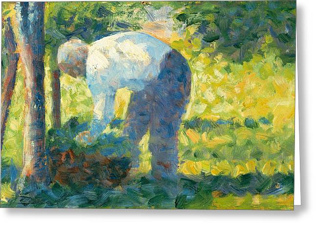 Seurat Greeting Cards - The Gardener Greeting Card by Georges Seurat