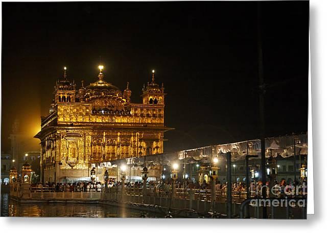 Punjab Greeting Cards - The Golden Temple of Amritsar at night Greeting Card by Robert Preston
