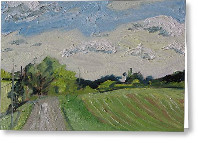 Gravel Road Paintings Greeting Cards - The Gravel Road Greeting Card by Francois Fournier