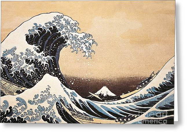Rough Paintings Greeting Cards - The Great Wave of Kanagawa Greeting Card by Hokusai