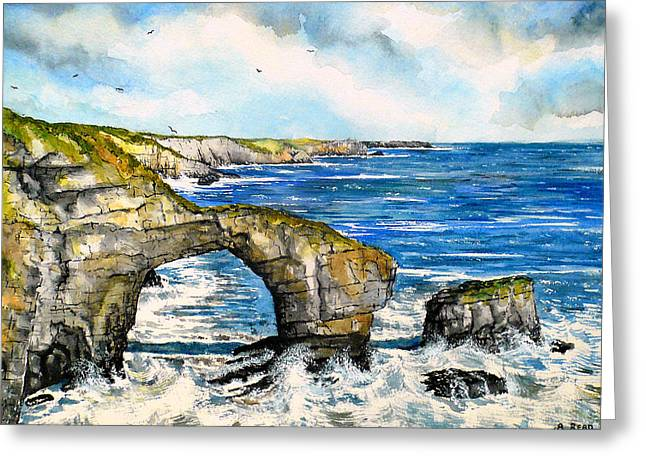 Oceanic Landscape Greeting Cards - The Green Bridge of Wales Greeting Card by Andrew Read