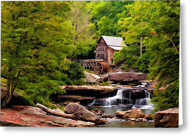 The Grist Mill Painted  Greeting Card by Steve Harrington