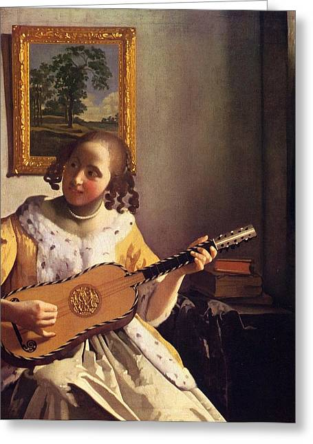 The Guitar Player Greeting Card by Johannes Vermeer