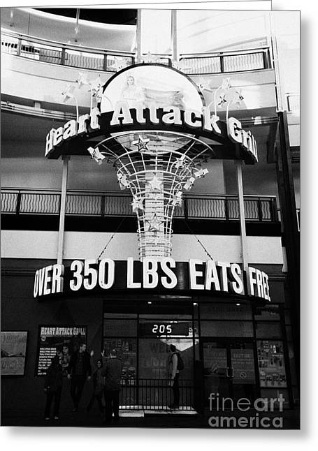 Heart Attack Grill Greeting Cards - the heart attack grill restaurant freemont street downtown Las Vegas Nevada USA Greeting Card by Joe Fox