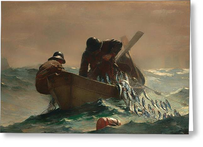 Storm. Rain. Oil On Canvas Greeting Cards - The Herring Net Greeting Card by Winslow Homer
