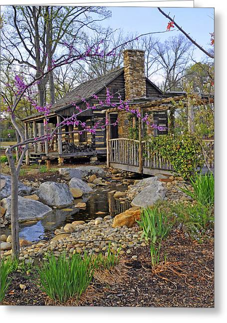 Recently Sold -  - Log Cabins Greeting Cards - The Historic Gosnell Log Cabin  Mauldin SC Greeting Card by Willie Harper