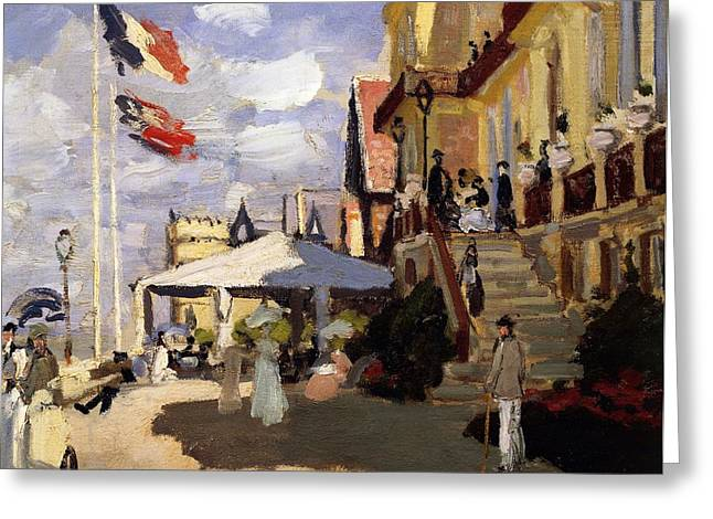 Front Steps Greeting Cards - The Hotel des Roches Noires at Trouville Greeting Card by Claude Monet