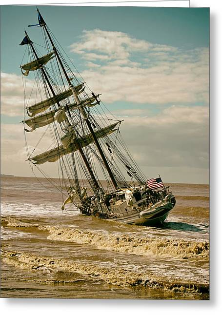 Sailboat Photos Greeting Cards - The Irving Johnson Aground  Greeting Card by Mountain Dreams