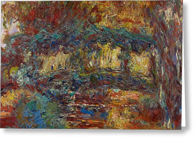 Blur Paintings Greeting Cards - The Japanese Bridge Greeting Card by Claude Monet