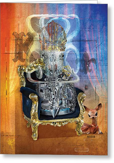 Fawn Mixed Media Greeting Cards - The King Greeting Card by Russell Pierce