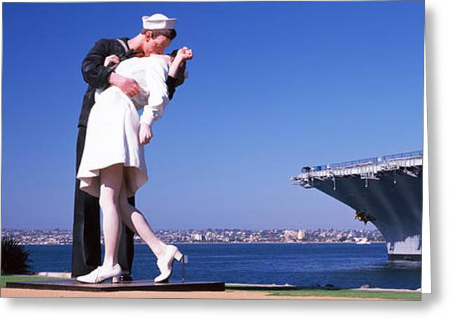 Aircraft Carrier Greeting Cards - The Kiss Between A Sailor And A Nurse Greeting Card by Panoramic Images