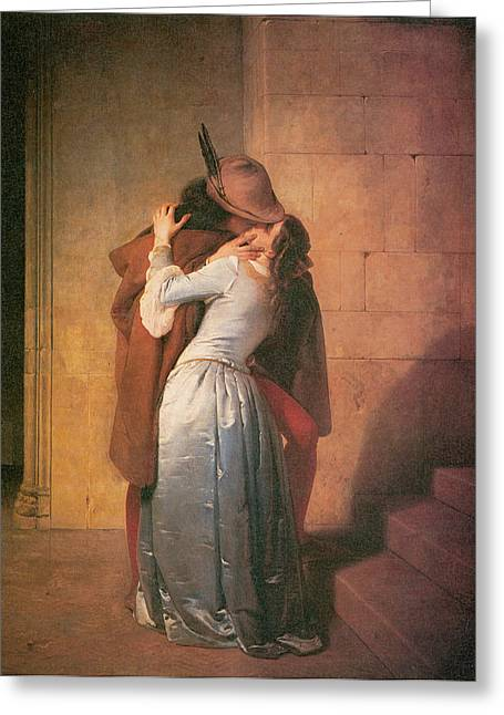 Hayez Greeting Cards - The Kiss Greeting Card by Francesco Hayez