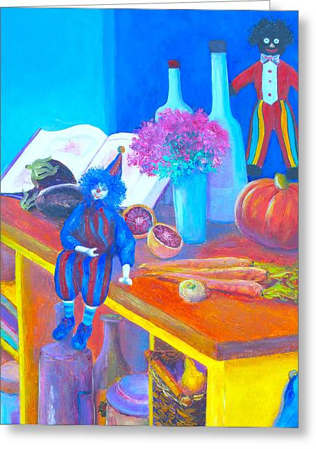 Country Cottage Greeting Cards - The Kitchen Bench Greeting Card by Jan Matson