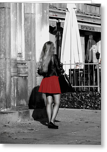 Short Skirt Greeting Cards - The Lady in Red Greeting Card by Mountain Dreams