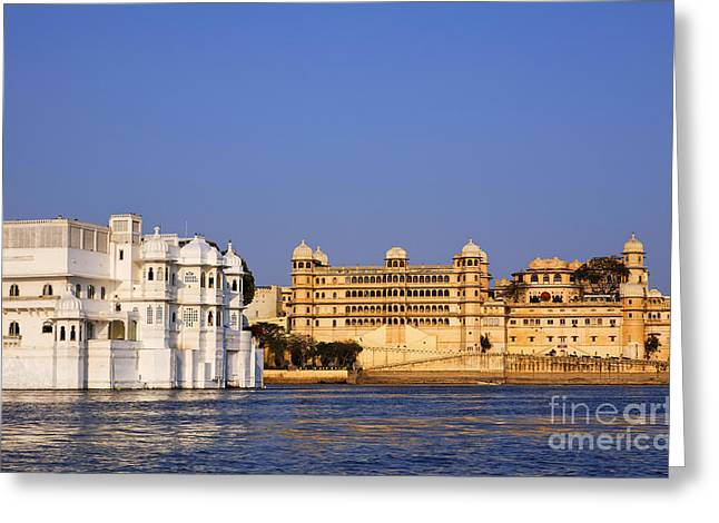 Palace Hotel Greeting Cards - The Lake Palace Hotel and the City Palace at Udaipur in India Greeting Card by Robert Preston