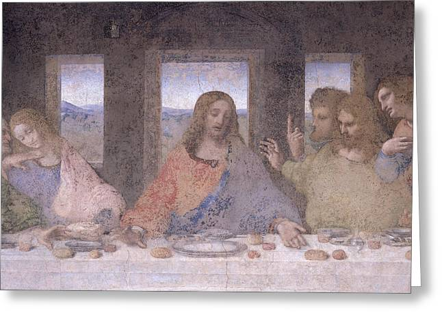 The Followers Greeting Cards - The Last Supper Greeting Card by Leonardo Da Vinci