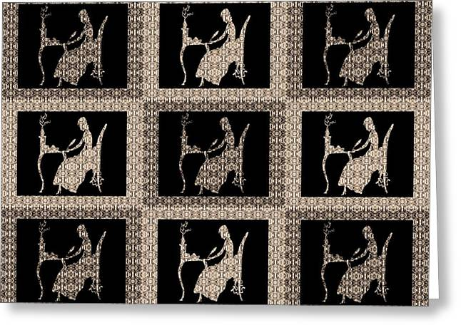 Relief Print Paintings Greeting Cards - The Letter Vintage Quilt Block Greeting Card by Barbara St Jean