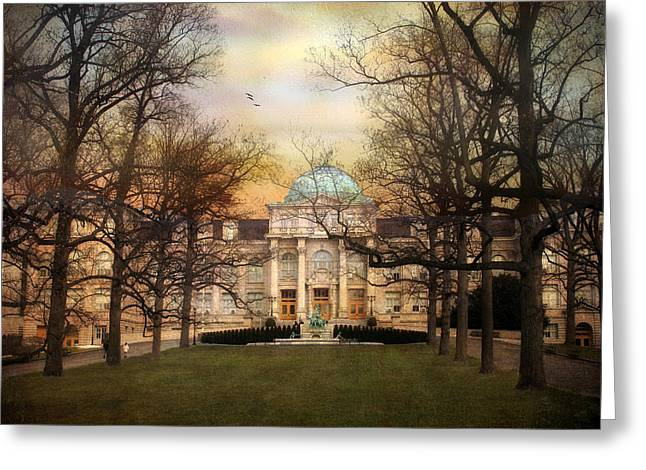 Dome Greeting Cards - The Library Greeting Card by Jessica Jenney