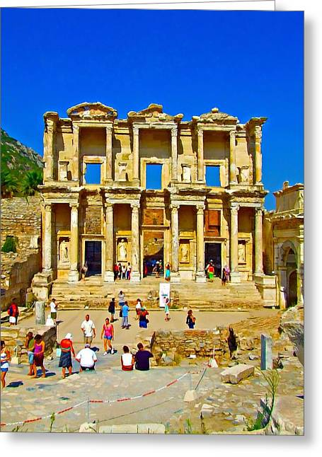 Library Of Celsus Greeting Cards - The Library of Celsus in Ephesus Greeting Card by Ken Biggs