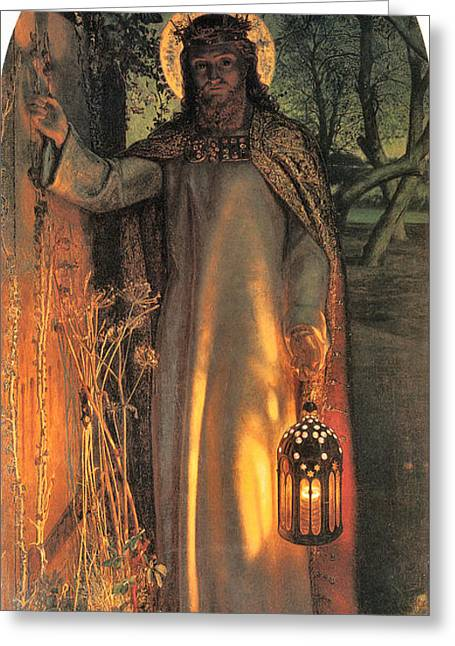Old Masters Digital Art Greeting Cards - The Light of the World Greeting Card by William Holman Hunt