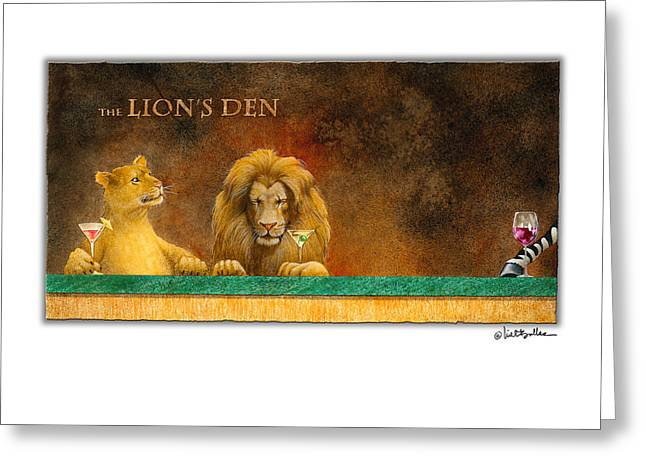 Zebra Greeting Cards Greeting Cards - the Lions Den... Greeting Card by Will Bullas