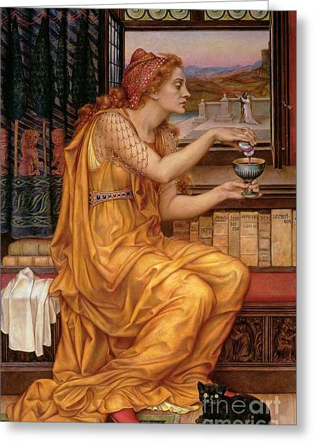 Black Cat Fantasy Greeting Cards - The Love Potion Greeting Card by Evelyn De Morgan