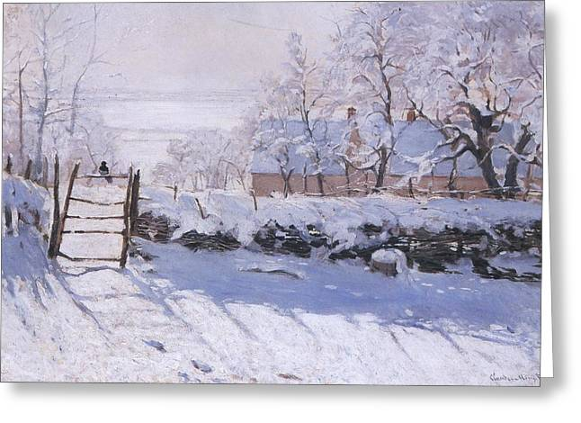 Magpies. Snow Greeting Cards - The Magpie Greeting Card by Claude Monet