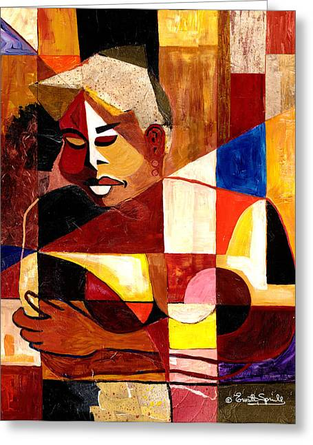 African-american Mixed Media Greeting Cards - The Matriarch Take Two  - 2007 Greeting Card by Everett Spruill
