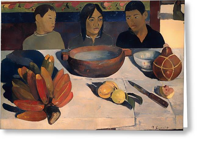 Table Cloth Greeting Cards - The Meal Greeting Card by Paul Gauguin