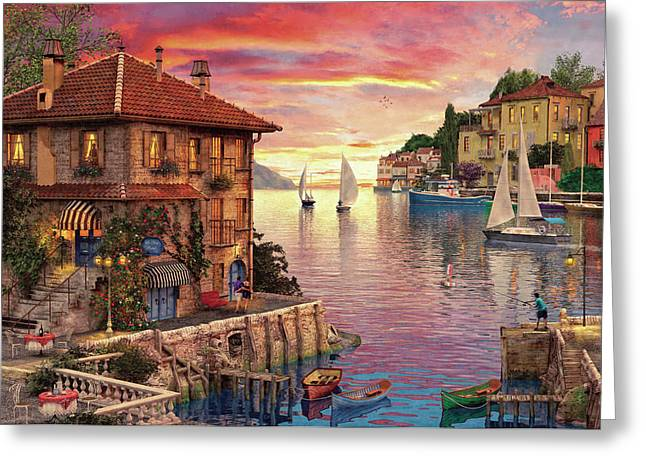 The Mediterranean Harbour Greeting Card by Dominic Davison