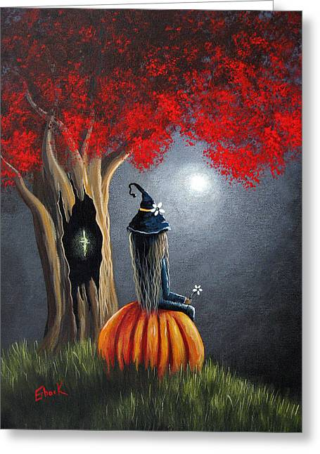 Tricks Greeting Cards - Original Witch Art - The Midnight Hour Greeting Card by Shawna Erback