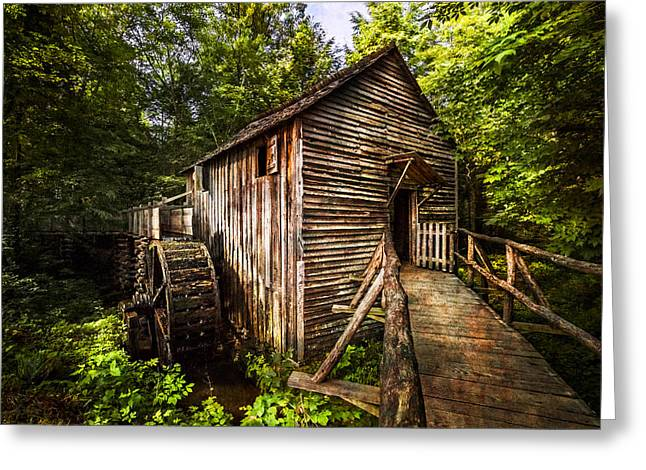 Mountain Cabin Greeting Cards - The Mill at Cades Cove Greeting Card by Debra and Dave Vanderlaan