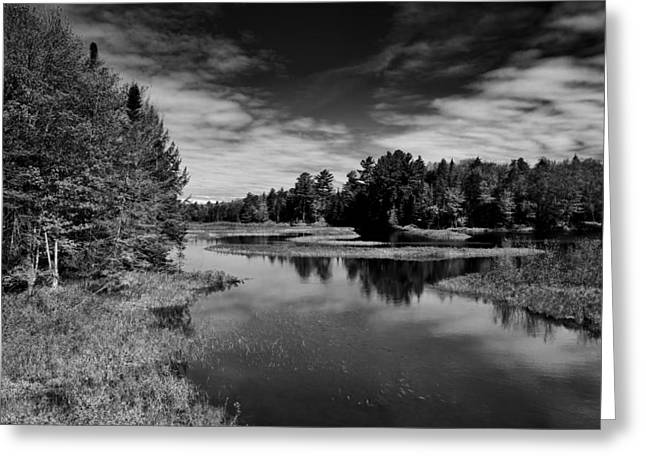 Old And New Greeting Cards - The Moose River in Old Forge Greeting Card by David Patterson