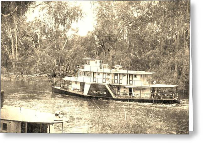 White Steamer Photos Greeting Cards - The Murray River Vintage Greeting Card by Andrew Hunt