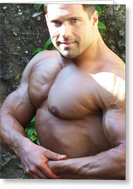 Pecs Digital Greeting Cards - The Muscle Poser Greeting Card by Jake Hartz