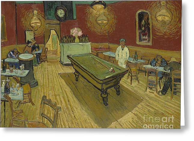 Vangogh Paintings Greeting Cards - The Night Cafe Greeting Card by Vincent Van Gogh