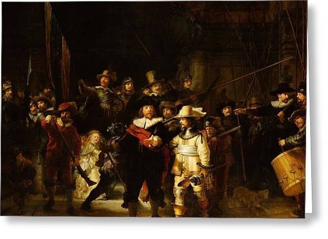 Barock Greeting Cards - The Night Watch Greeting Card by Rembrandt Van Rijn