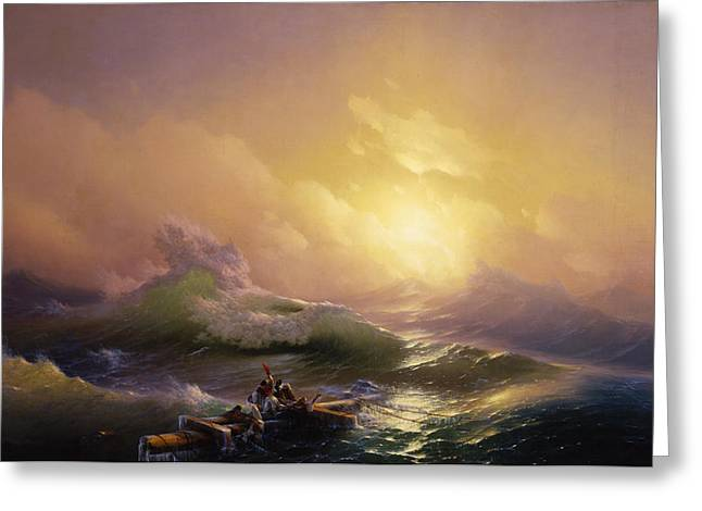 Blue Green Water Drawings Greeting Cards - The Ninth Wave Greeting Card by  Ivan Aivazovsky