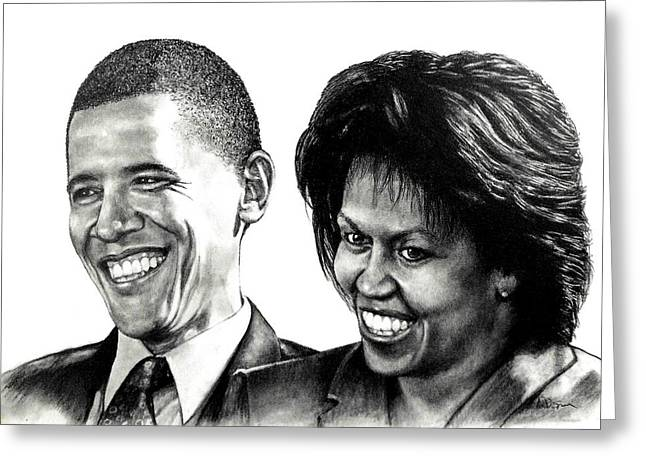 Portrait Of Michelle Obama Greeting Cards - The Obamas Greeting Card by Todd Spaur
