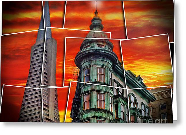 City Art Greeting Cards - The Old and the New the Columbus Tower and the Transamerica Pyramid altered Greeting Card by Jim Fitzpatrick