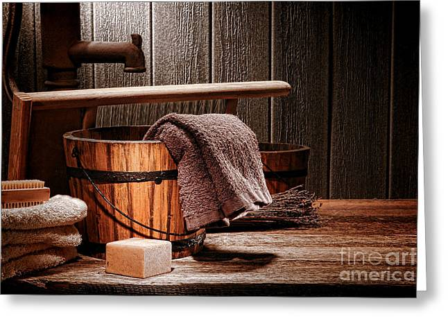 Old Washboards Photographs Greeting Cards - The Old Laundry Greeting Card by Olivier Le Queinec