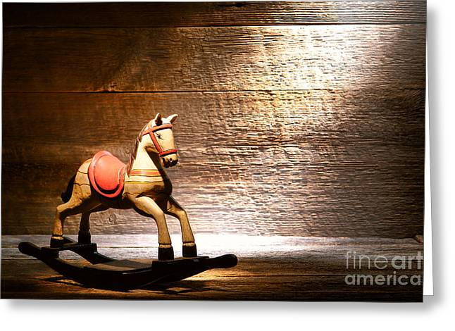 Attic Greeting Cards - The Old Rocking Horse in the Attic Greeting Card by Olivier Le Queinec