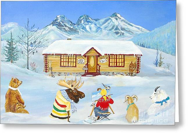 Canmore Artist Greeting Cards - The Painting Lesson Greeting Card by Virginia Ann Hemingson