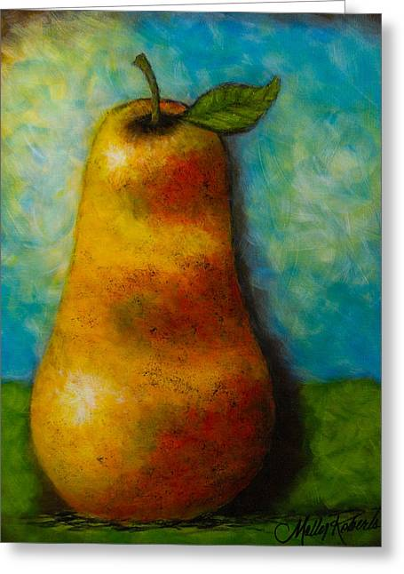 Molly Greeting Cards - The Pear Greeting Card by Molly Roberts