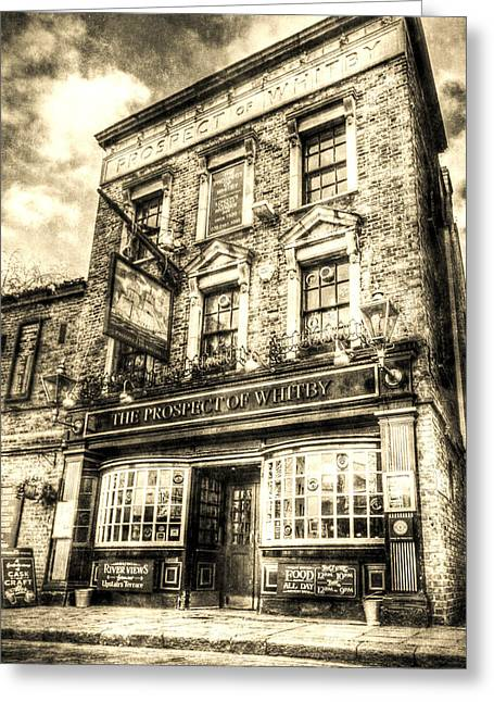 Prospects Photographs Greeting Cards - The Prospect Of Whitby Pub London Vintage Greeting Card by David Pyatt