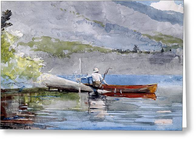 Canoe Paintings Greeting Cards - The Red Canoe Greeting Card by Winslow Homer