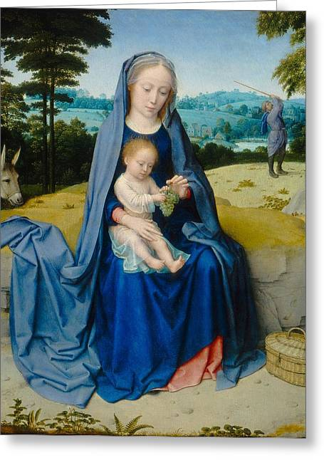 1510 Paintings Greeting Cards - The Rest on the Flight into Egypt Greeting Card by Gerard David