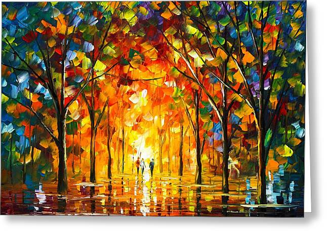 Enjoying Life Paintings Greeting Cards - The Return Of The Sun Greeting Card by Leonid Afremov