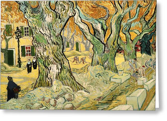 Repaired Paintings Greeting Cards - The Road Menders Greeting Card by Vincent van Gogh